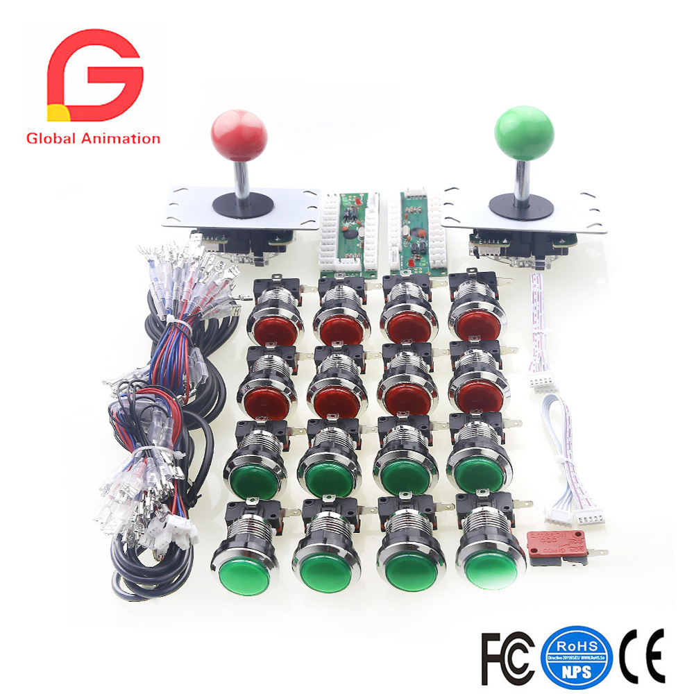 Arcade Control Panel LED Light Bundle Kit Arcade Handles , 16x Fight Buttons and Select Button,USB Encoder Board For PC Computer mei wan and cherry universal hood board computer board control panel compatible with all brands of range hoods all