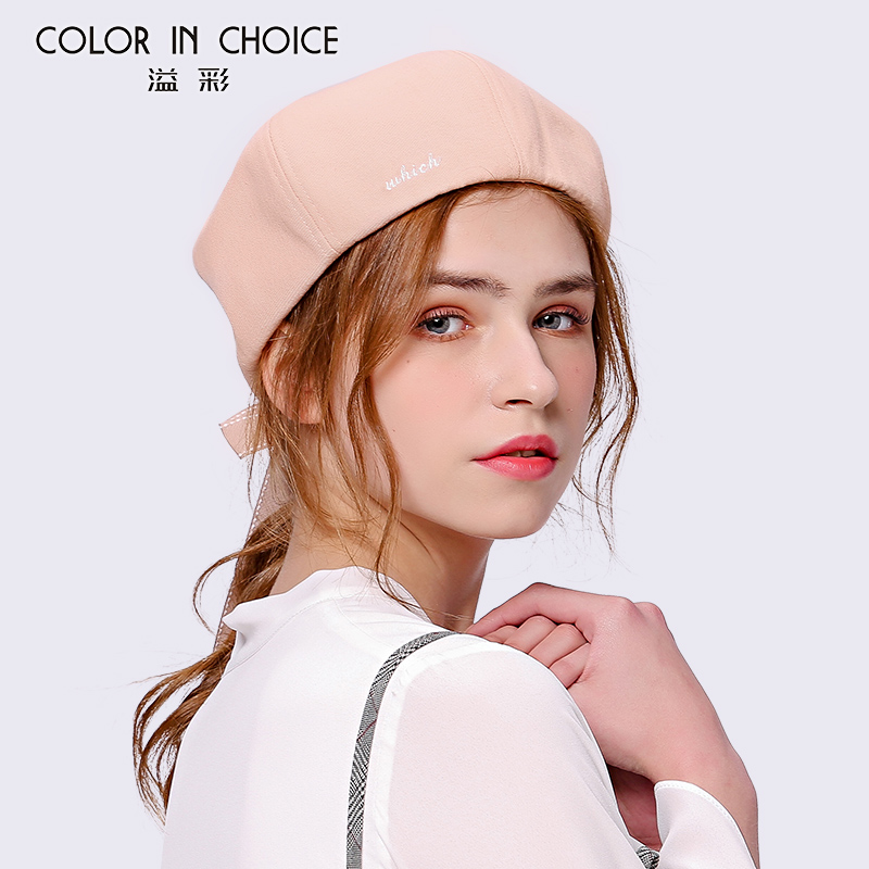 Girls Beret Hat Female Overflowing Warm Hats Students Dome Retro Art Pumpkin Painter Cap Sweet Bow Knot Octagonal Hat B-8740