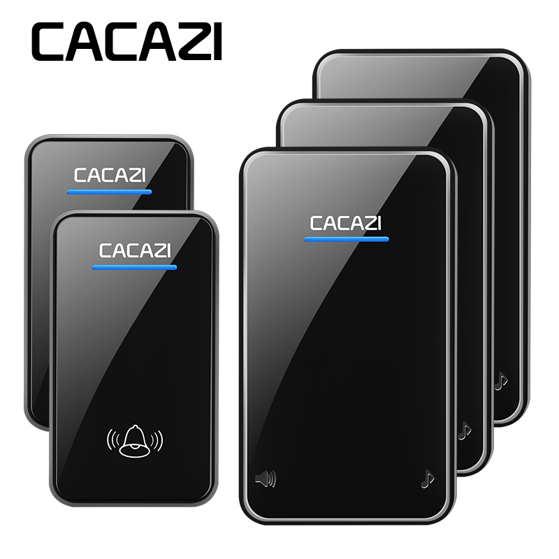 CACAZI Wireless Doorbell Waterproof 2 Battery Button 3 Receivers EU Plug 300M Remote LED Light Home Cordless Bell 48 Chime cacazi wireless doorbell waterproof 350m remote 3 battery button 3 receivers 48 chime 6 volume eu plug home cordless bell
