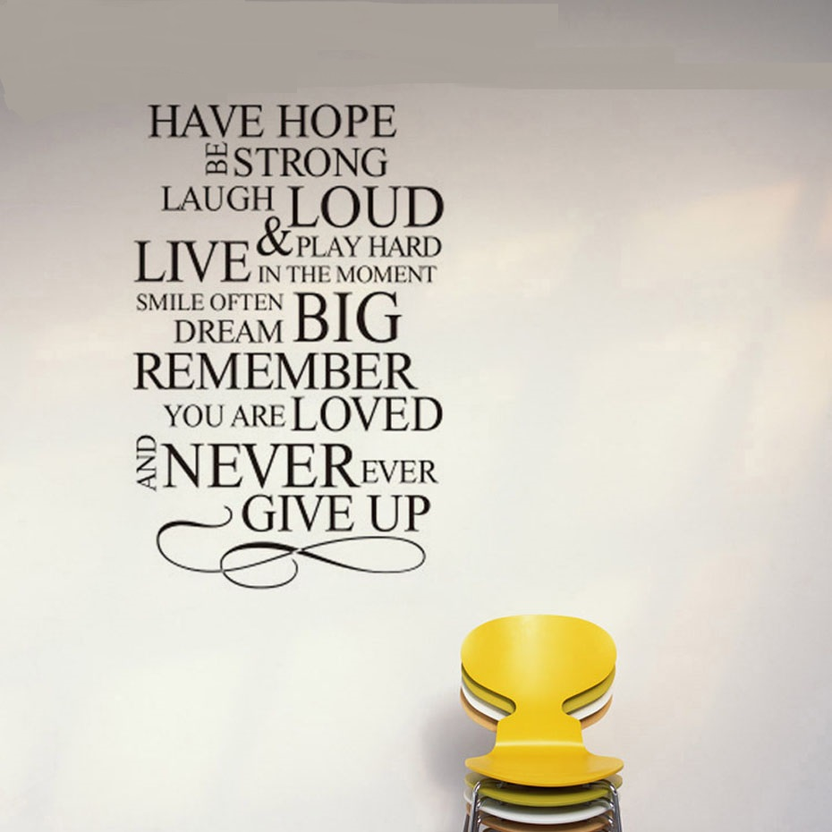New Inspiring Never Ever Give Up Quote Wall Stickers Text  Vinyl Removable Wall  Art Murals Kids Room Bedroom Home Decor(China)