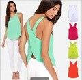 Moda Verão Mulher Lady Mangas Blusa O Pescoço Vest Bombom Solta Regatas T-shirt coletes de renda para as mulheres Plus Size