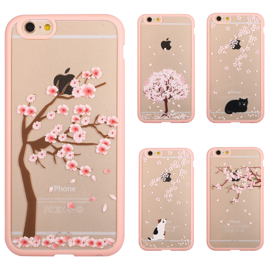 outlet store 6ce65 9fc57 US $1.99 |Cherry Blossom Trees Phone Case For iPhone 7 7 Plus 6 6s Plus 5s  5 SE 5C 4 4s Acrylic Cover Cats Back Covers For iPhone 7 Cases on ...