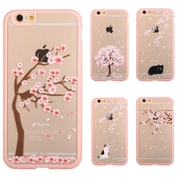 outlet store d3ee5 83110 US $1.99 |Cherry Blossom Trees Phone Case For iPhone 7 7 Plus 6 6s Plus 5s  5 SE 5C 4 4s Acrylic Cover Cats Back Covers For iPhone 7 Cases on ...