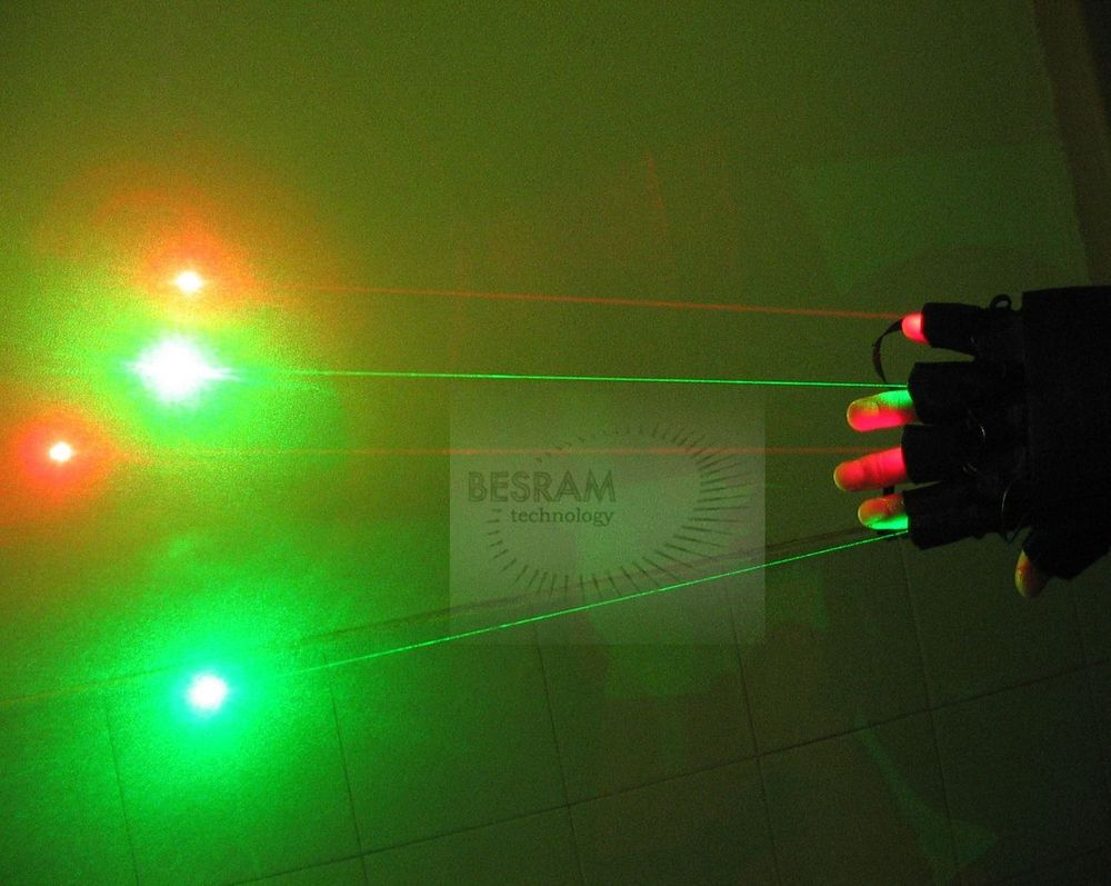 ФОТО Green + Red Laser Glove of 2pcs 50mW-80mW 532nm Diode Modules + 2pcs 150mW-200mW Modules Stage Lighting DJ Club Party Show Dance