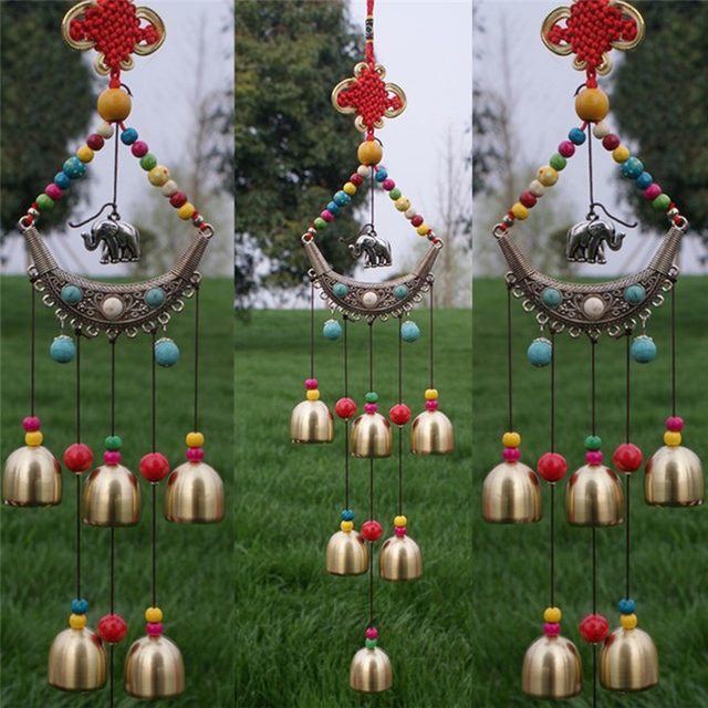 Ethnic Style Lucky Elephant Windchime Copper 6 Bells Outdoor Living Yard Garden Decor Metal Crafts Decoration
