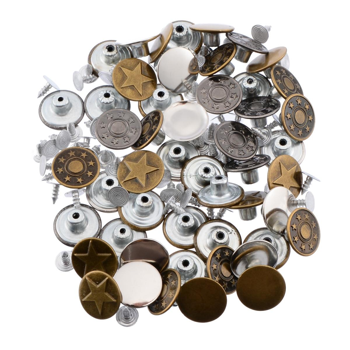 50 pcs set Metal Button 5 Patterns Mix Denim Jacket Jeans Button 17mm Metal Hosier Button Seamless Press Button in Buttons from Home Garden