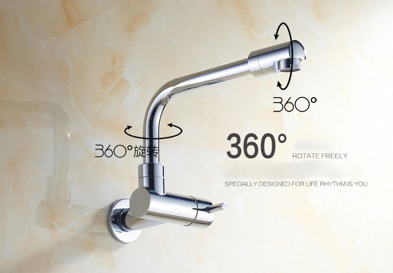 Single Cold Wall Faucet Copper Sink Chrome Kitchen Water Tap In Basin Faucets From Home Improvement