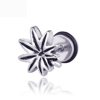1 Pair 2PC Punk Style Titanium Steel Maple Cannabiss Leaf Earrings Male Female Stud Earring Men Trendy Party Jewelry