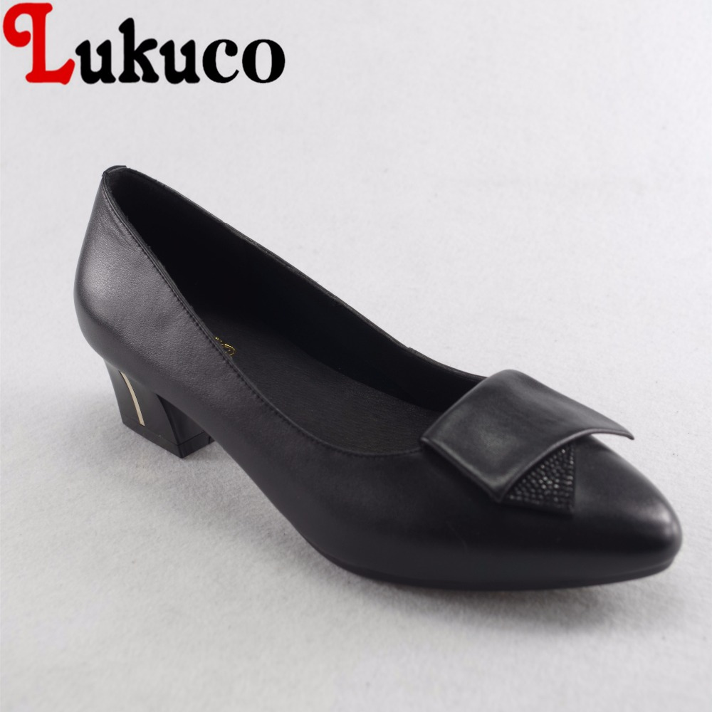 Lukuco mature style crystal decoration women pointed toe pumps microfiber made low square heel shoes with pigskin inside lukuco pure color women mid calf boots microfiber made buckle design low hoof heel zip shoes with short plush inside