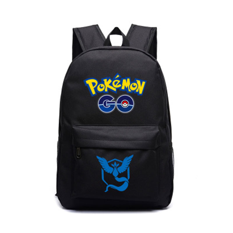 Pokemon GO Black Backpack Shoulders Bag Laptop Bag SchoolBag Red Yellow Blue Shoulder Bags