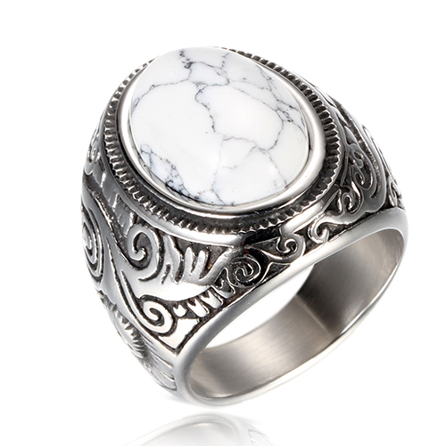Retro Style Titanium Steel Stone Ring Mawgie