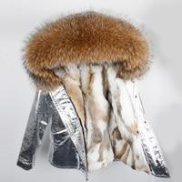 Brand Real Fur Coat 2019 Parka Silver Winter Jacket Women Big Natural Raccoon Fur Collar Hooded Rabbit Fur Parkas Warm Thick
