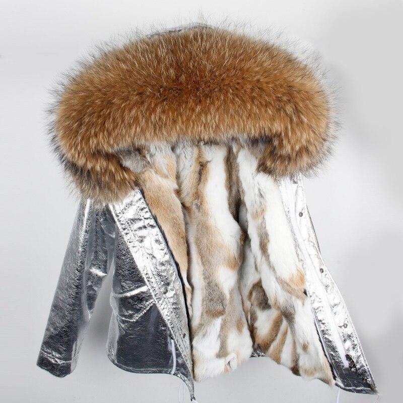 Manteau de fourrure véritable de marque 2019 Parka veste d'hiver en argent femmes grand col de fourrure de raton laveur naturel à capuche Parkas de fourrure de lapin chaud épais