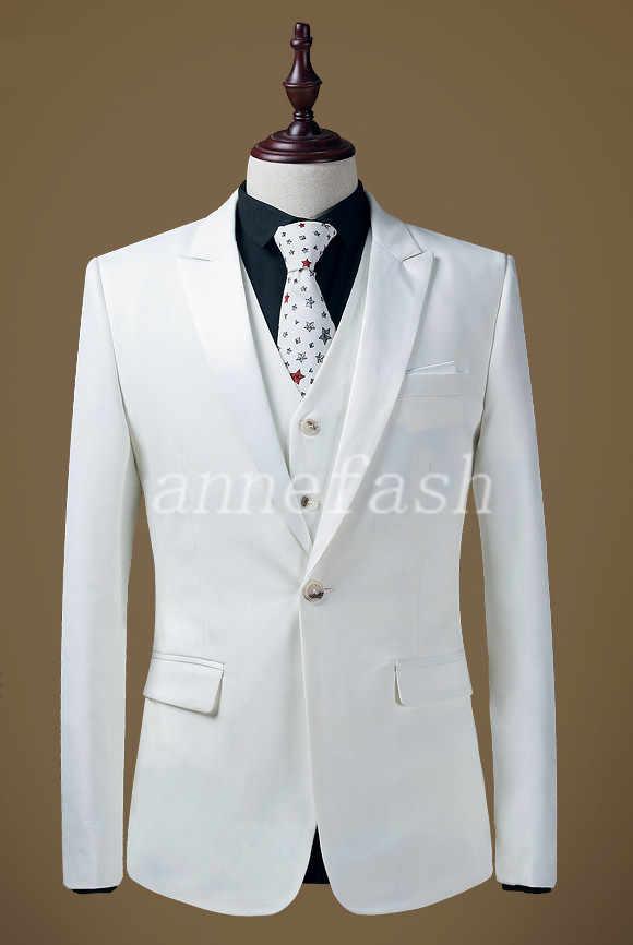 カスタムメイドホワイト男性スーツ3ピース2017新着パーティー花婿花婿の付添人のウェディングスーツ(ジャケット+パンツ+ベスト)