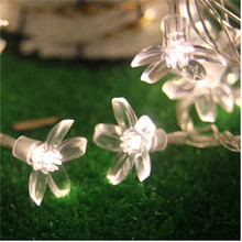 10m 100LED Cherry Blossom floral starry Copper Wire Curtain String Light LED Fairy Light for House Wedding Christmas Decoration agm 10m copper wire led string light garland 100led battery fairy light for christmas new year home decoration festival decor