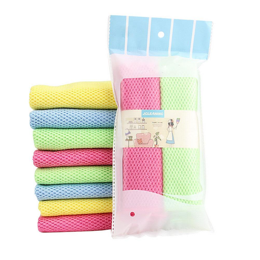 2pcs/set Home Kitchen Dishcloths Rags Towel Car Cleaning Hand Towels  Non Stick Oil