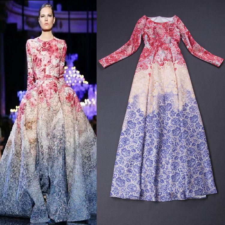 Vestido largo de la manga, mujeres del resorte impresión de algodón ...