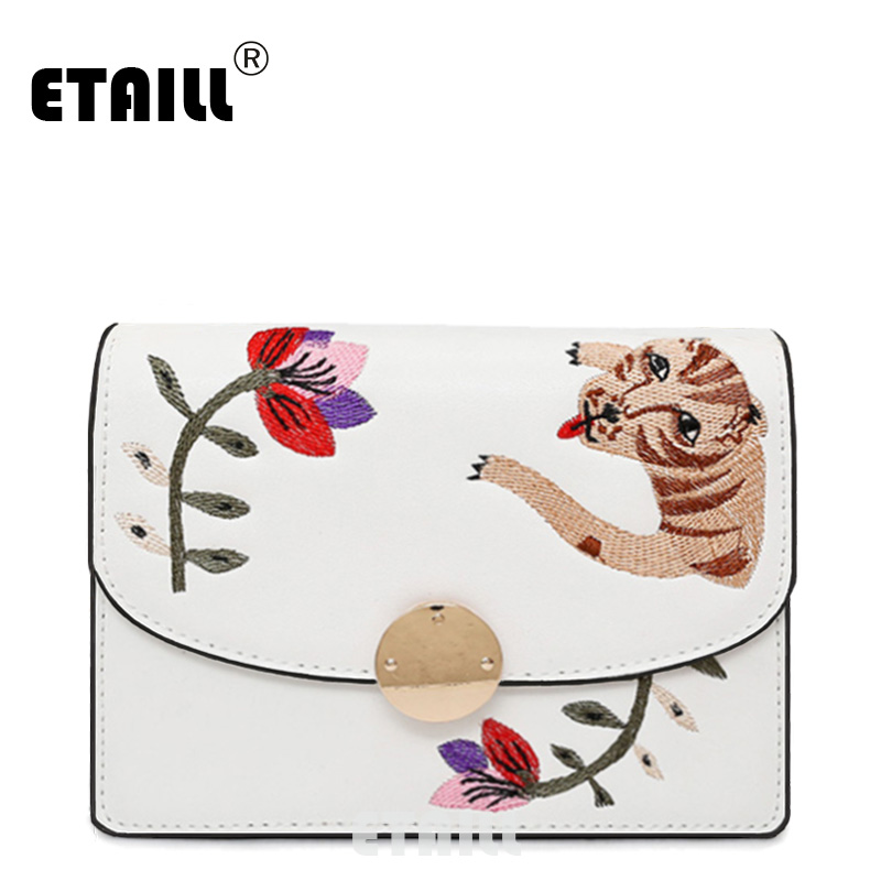 ETAILL 2017 Tiger and Flower Embroidered Crossbody Bags for Women Famous Brands Designer PU font b