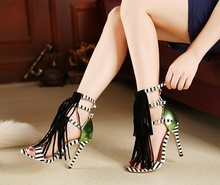 Tassel Sandals Stripped Female+Shoes Cut Out Buckle Strap Summer Fashion Miexed Color  Fringe Ankle Shoes