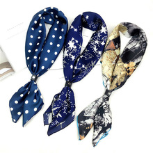 Fashion Elegant Floral Silk Spring Female Scarf New Retro Painting Small Square Foulards Wild Bandanas For Women 70*70cm