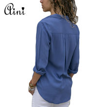 Plus Size Women Tops and Blouses 2018 Autumn Elegant Long Sleeve Solid V-neck OL Chiffon Blouse Female Work Wear Shirts Blouse
