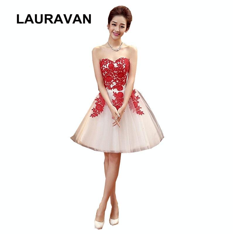 665fc1d767 Senza spalline vestito bridemaid abito corto in pizzo rosso avorio ...