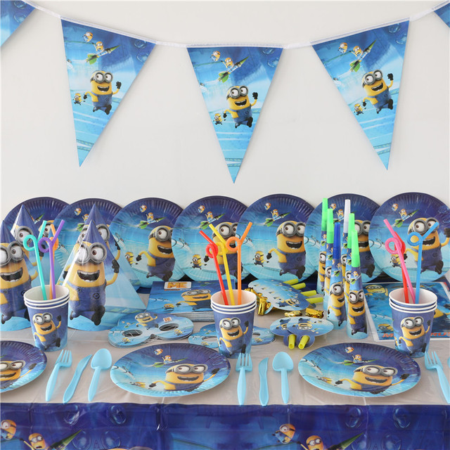 1pack 40pcs Wholesale Minions Baby 1st Birthday Theme Party Supplies