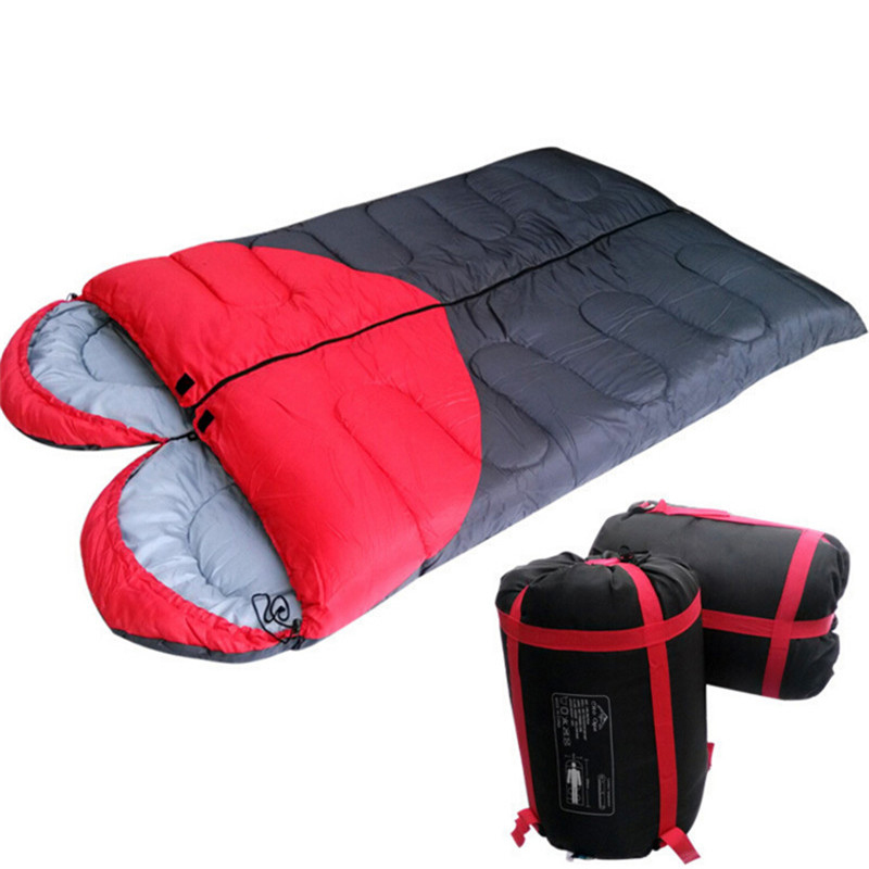 Us 78 0 50 Off Double Sleeping Bag Lover Heart Camping Cotton Liner Envelope Sleep Bags Spring Winter 4 Season Use 1 5kg Pc In