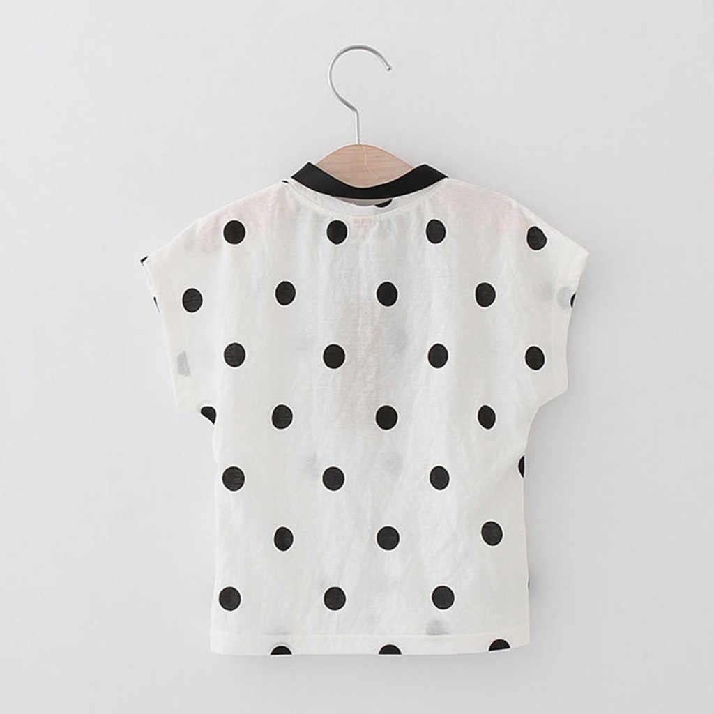Maluch ubrania dla dzieci Baby ubrania dla dziewczynki ubrania Dot druku T-shirt + Cat haft spódnica zestaw vêtement Enfant Fille lato 2019
