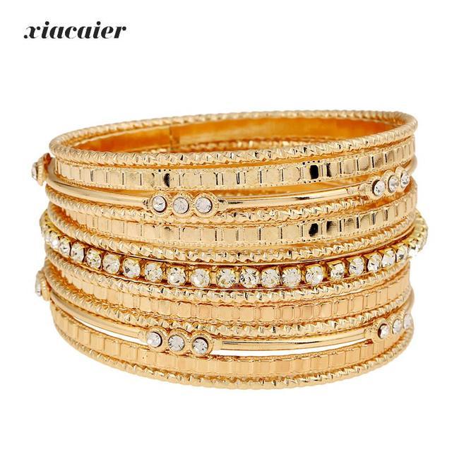 Xiacaier Indian Bangle Gold Color Bracelets For Women Silver Bangles Set Jewelry Bracelet Femme