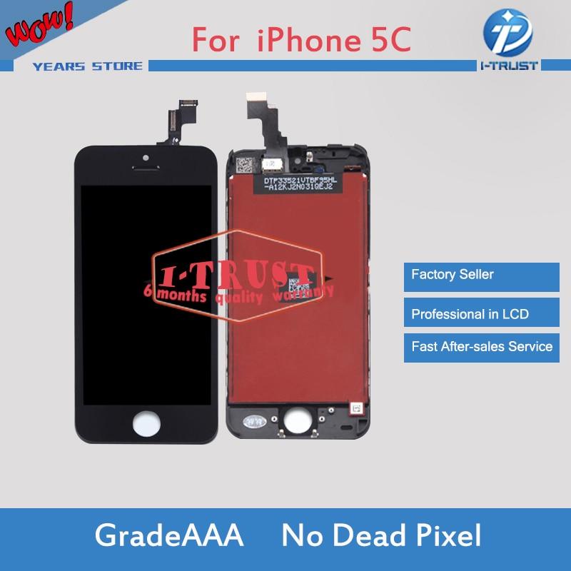 imágenes para Grado a + + + calidad de la pantalla táctil de cristal reemplazo digitalizador y lcd asamblea para el iphone 5c & dhl libre 10 unids lot