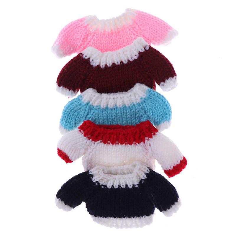 1 pçs nova miniatura 1/12 dollhouse acessórios roupas camisola para blythe boneca de malha topos tecidos