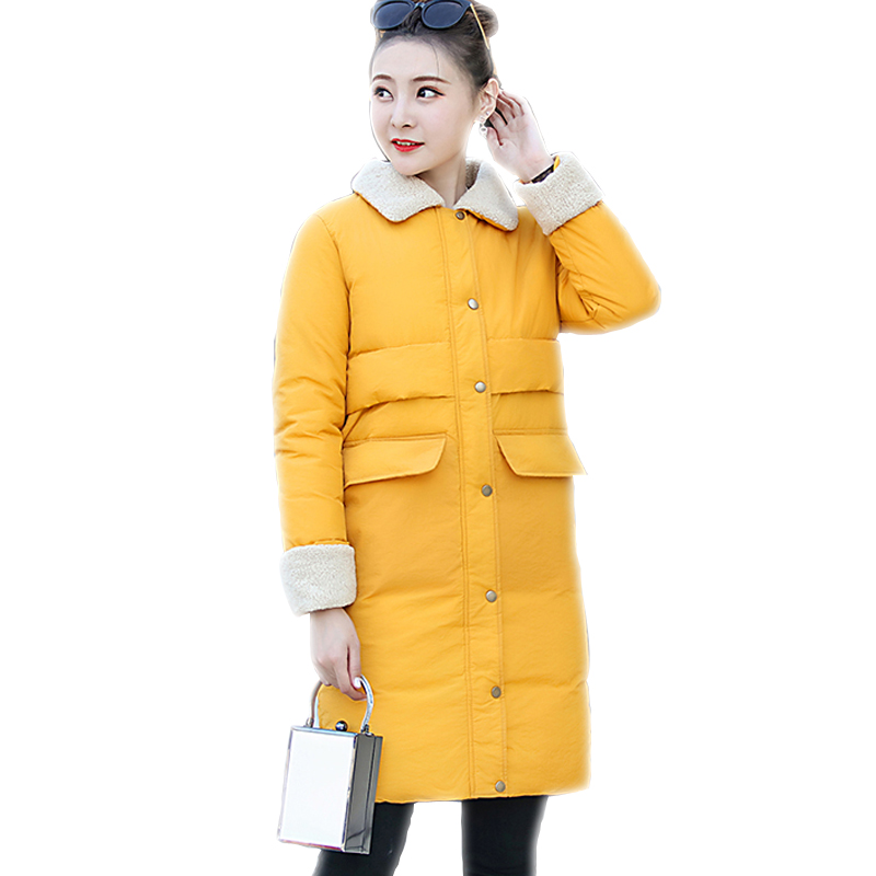 2017 winter coat women Medium long Parka Fashion Turn-down collar Hooded Big Pocket Outerwear Warm Female Jacket Woman Clothes dark blue pocket roll up turndown collar winter outerwear
