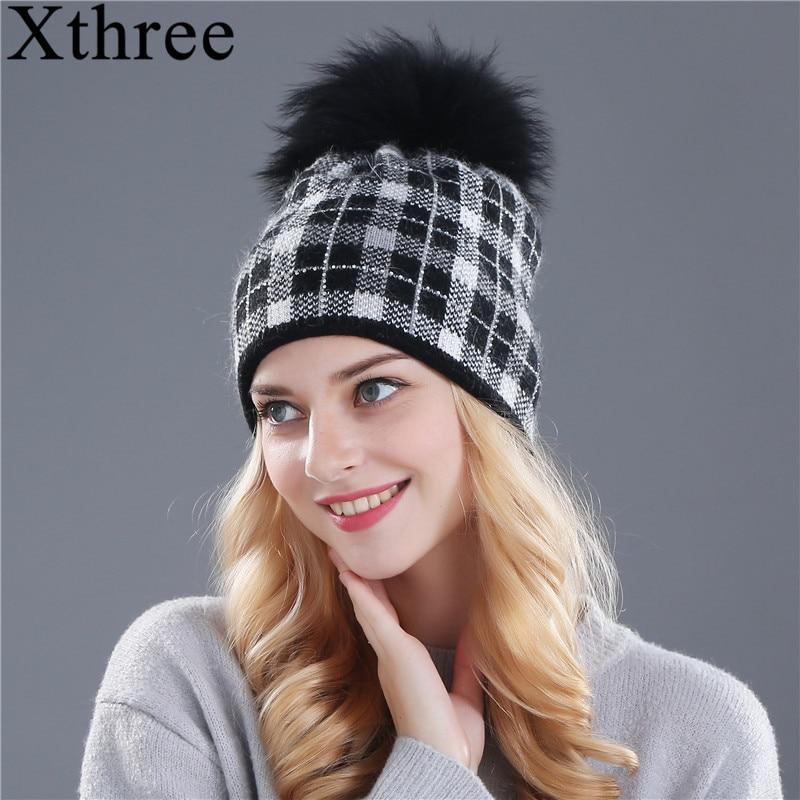 Xthree χειμωνιάτικες γυναίκες πραγματικές νυφίτσες πλεκτά καπέλο pom poms μαλλί καπέλο γούνα κουνέλι για γυναίκες κορίτσια beanies Skullies καπέλο