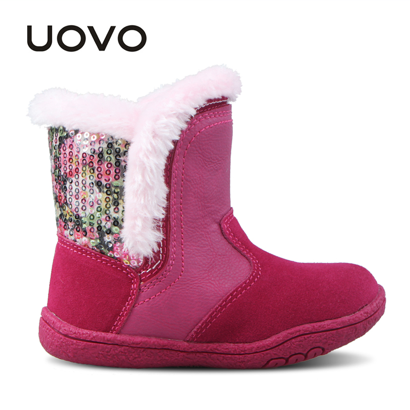 8e6b5611f2 UOVO Little Girls Boots Faux Fur Plush Kids Boots With Glitter Cow Suede  Upper Durable Sole Baby Winter Toddler Boots  23 30-in Boots from Mother    Kids on ...