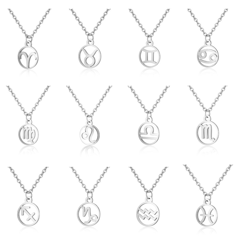 Fnixtar Stainless Steel Zodiac Sign Constellation Signs Necklaces For Women 12 Constellation Jewelry  40cm+5cm  5piecelot