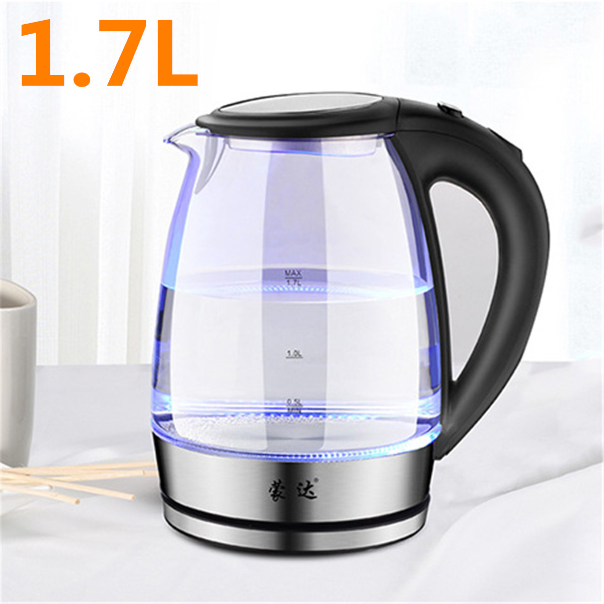1.7L 304 Stainless Steel High Borosilicate Glass Electric Kettle Blue LED Light 15x15x23cm