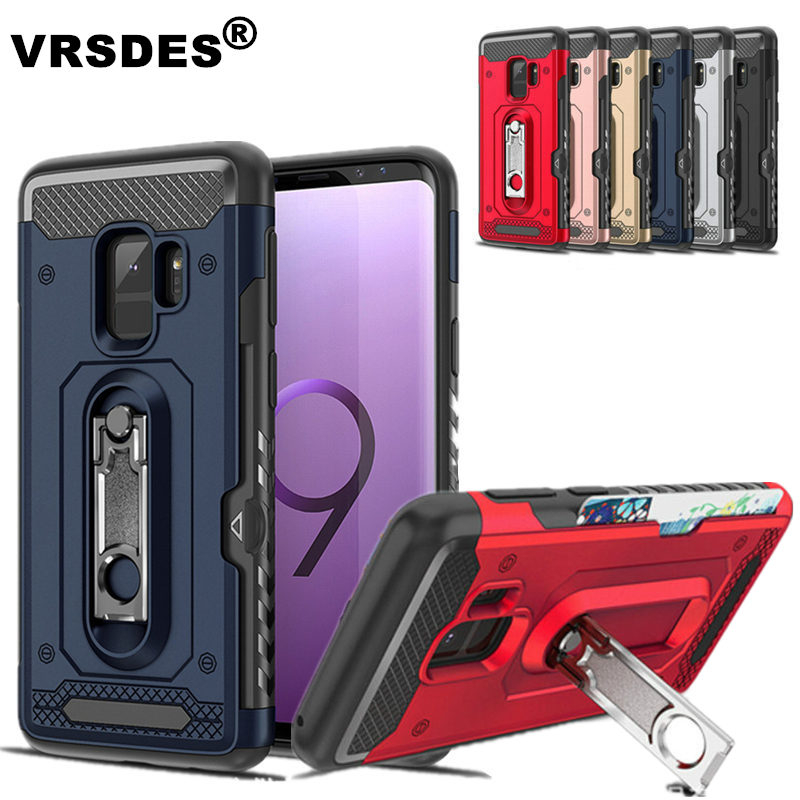 VRSDES Armor Case For <font><b>Samsung</b></font> <font><b>Galaxy</b></font> Note 9 <font><b>8</b></font> S9 S8 Plus Card Slot Kickstand Cover For <font><b>Samsung</b></font> A6 A8 A7 A9 J4 J6 Plus <font><b>2018</b></font> 2017 image