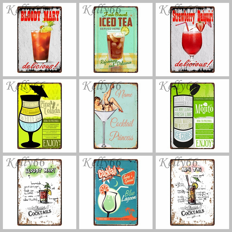 Kelly66 Cocktail Beer Vintage Metal Sign Tin Poster Home Decor Bar Wall Art Painting 20 30 CM Size Dy15 in Painting Calligraphy from Home Garden
