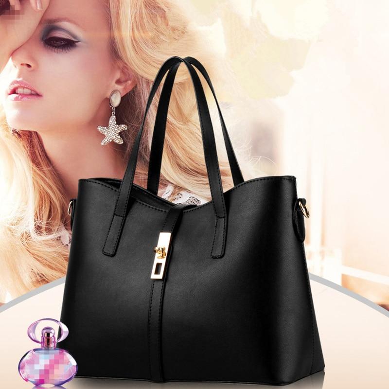 Fashion PU Women Handbag Classic Office Lady Shoulder Bag Simple Crossbody Messenger Zipper