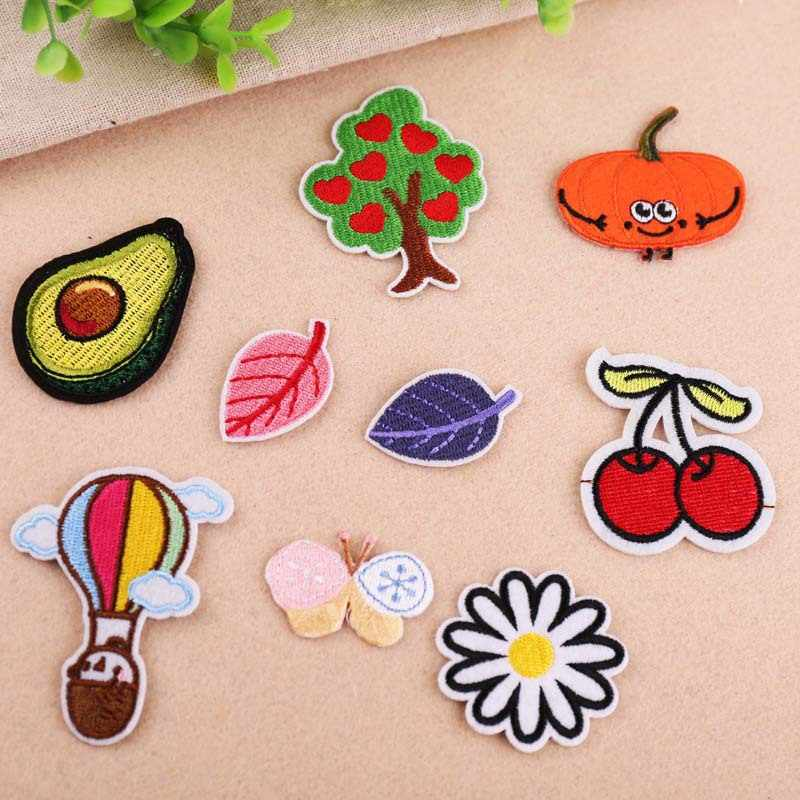 1Pcs Cherry Leaf Borduren Patch Heat Transfers Iron On Sew Patches Voor Kleding Kleren Stickers Decoratieve Applicaties 47211