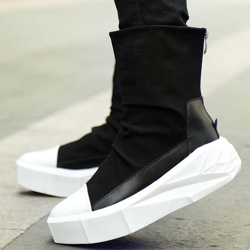 cbd1eb2c7858 ... Men 6 cm Height Increasing Platform Boots Back Zip Leather Shoes Male  Mixed Colors Y3 High ...