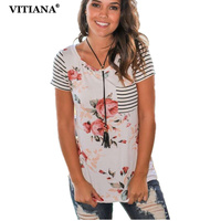 VITIANA 2017 Women Summer Casual T Shirts O Neck Short Sleeve Striped Blue Print Shirt Tee
