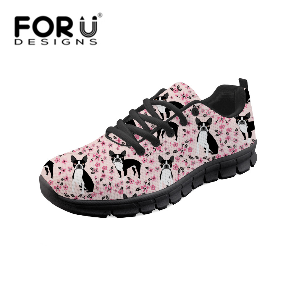 FORUDESIGNS Cute Boston Terrier Printing Women Vulcanize Shoes Floral Print Casual Soft Shoes Woman Sneakers Classic