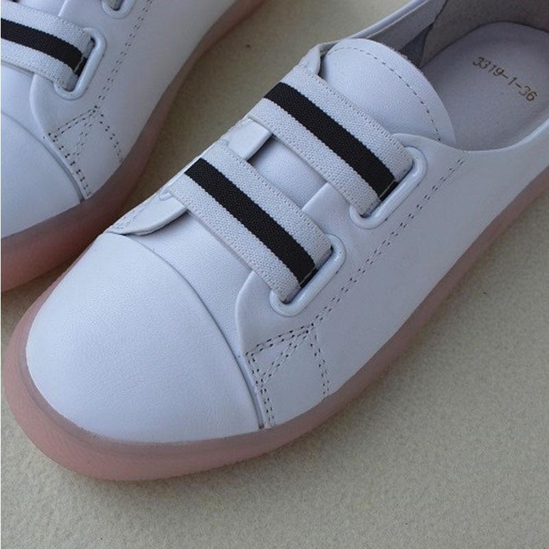 Frauen Schuhe Slip auf Weiße Müßiggänger 100% Echtem Leder Frau Turnschuhe Damen Flache Schuhe (3319 1)-in Flache Damenschuhe aus Schuhe bei  Gruppe 3