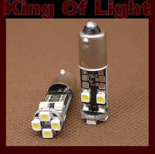 100X Canbus G14 BA9S 8SMD 8 leds SMD 3528 1210 Wedge Car Light Bulb Lamp NO OBC ERROR Free shipping