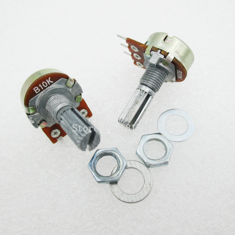 5PCS/LOT B10K 10K OHM WH148 3Pin Linear Single Rotary Potentiometer Pots Shaft 20MM With Nuts And Shim