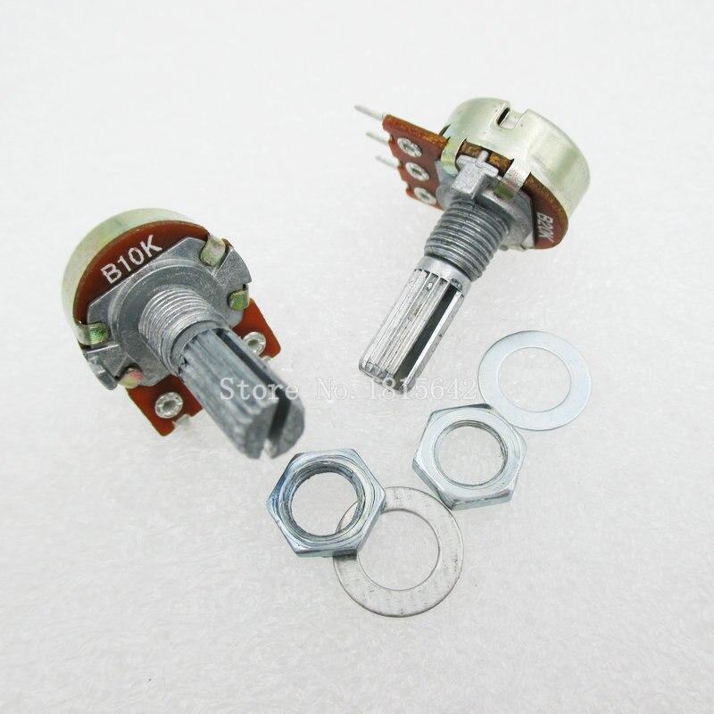 5 шт./лот B10K 10K Ом WH148 3-контактный линейный одноповоротный потенциометр, вал горшков 20 мм с гайками и шипами