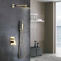 Gold plated brass 8 inch shower head with Shower arm bathroom Shower faucet accessories