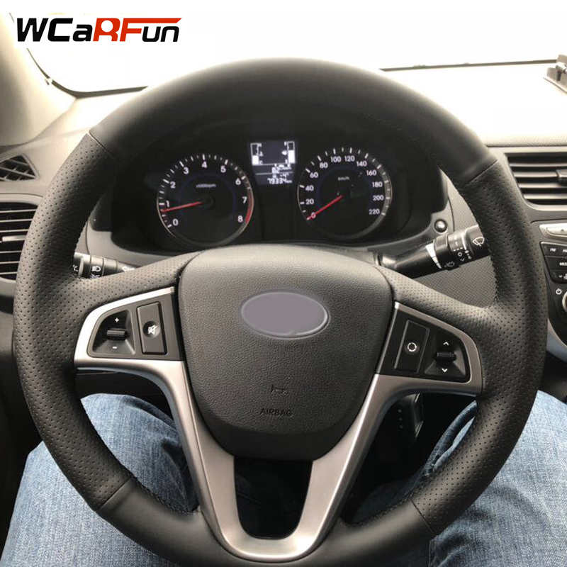 WCaRFun Black Artificial Leather Car Steering Wheel Cover for Hyundai Solaris 2010-2016 Verna 2010-2016 i20 2009-2015 Accent